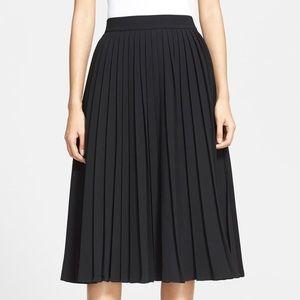 Kate Spade Black Accordion Pleat Crepe Midi Skirt